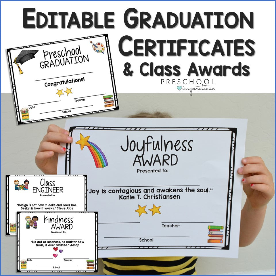 Editable Graduation Certificates and Class Awards