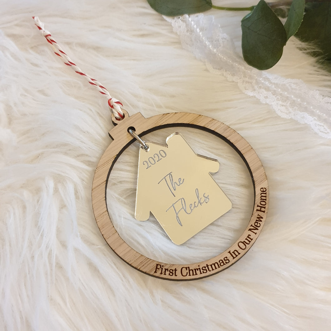 PRE-ORDER Jan 2021 Personalised Oak New Home Christmas Bauble