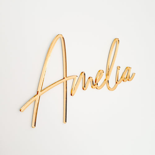 Personalised Gold Mirror Name Sign