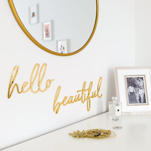 Hello Beautiful Gold Mirror Sign