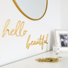 Load image into Gallery viewer, Hello Beautiful Gold Mirror Sign