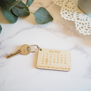 Love of my life calendar keyring personalised gift