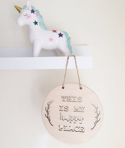 My Happy Place Wooden Wall Hanging