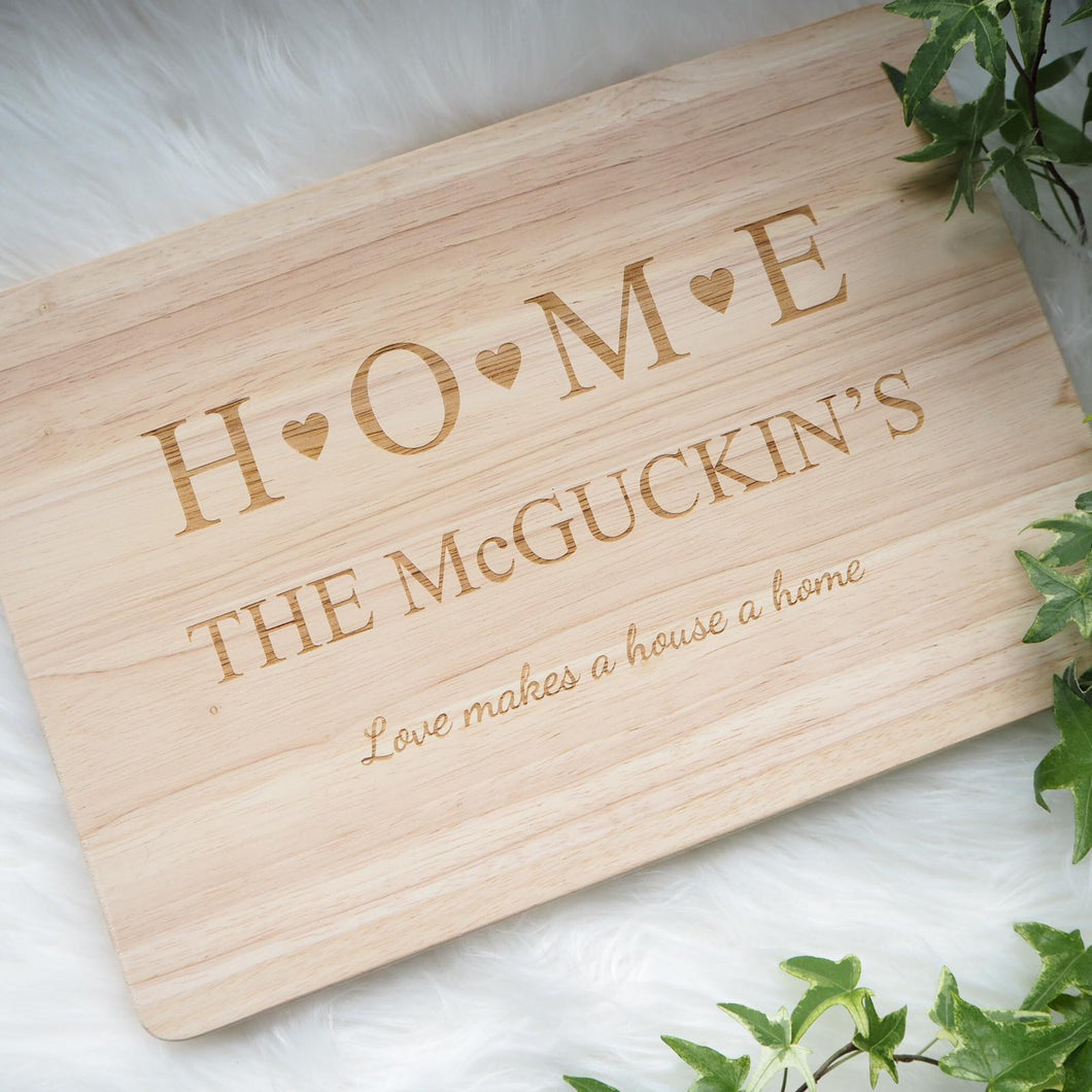 Personalised HOME Chopping Board Wedding Gift New Home Anniversary Present
