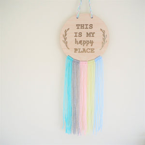 My Happy Place Wooden Wall Hanging With Wool