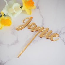 Load image into Gallery viewer, Birthday Cake Topper / Silver Gold Mirrored Acrylic / Any Name or Number