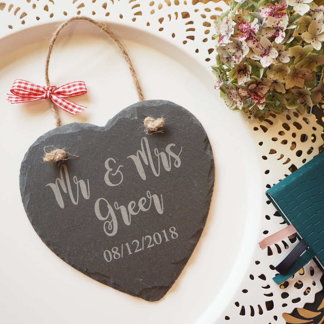 Personalised slate hanging heart wedding gift anniversary Mr and Mrs engagement gift