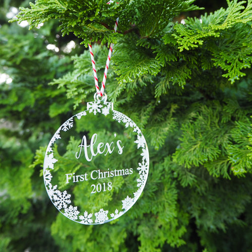 Personalised First Christmas Bauble