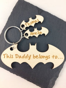 Personalised Superhero Keyring fathers day birthday valentines day gift present dad