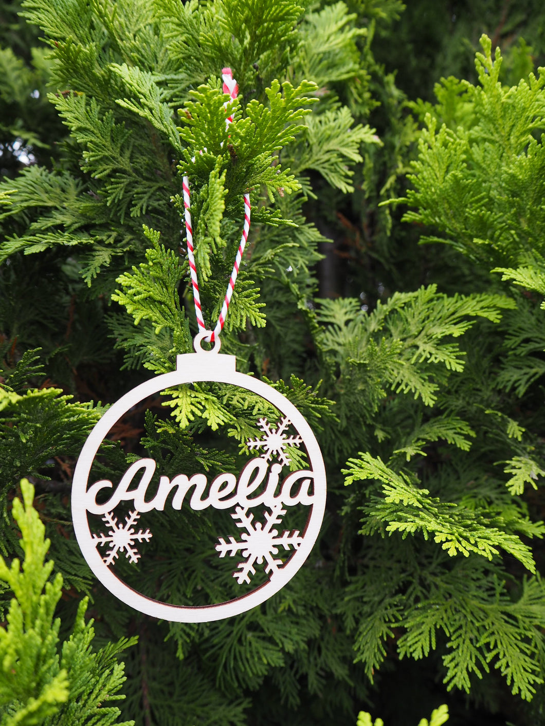 Personalised Wooden Christmas Bauble Stocking Filler Gift Present Tree Decoration