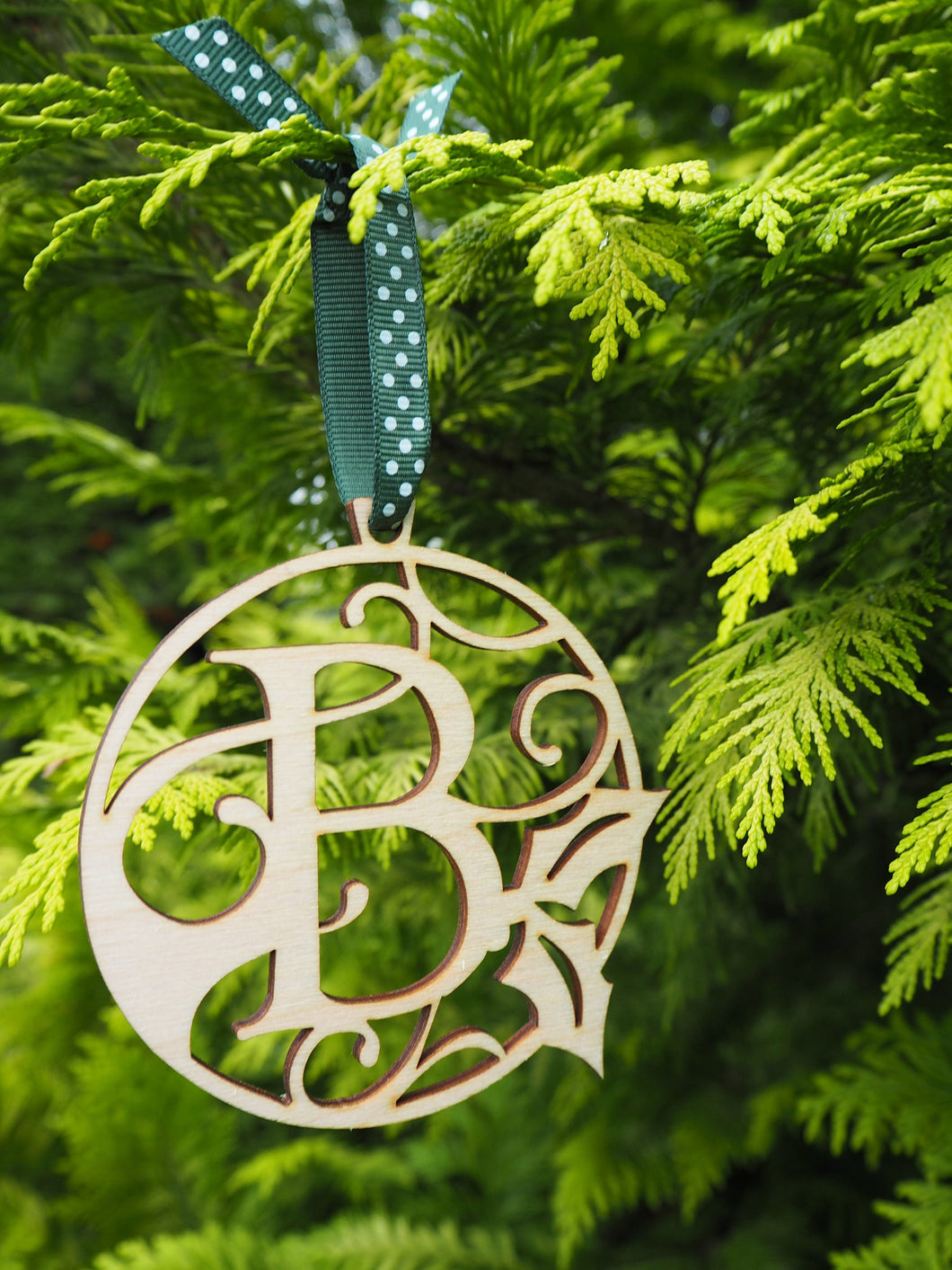 Personalised Initial Wooden Christmas Bauble Gift Present Tag