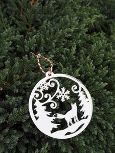 Mirror Acrylic Forest Fox Scene Christmas Bauble