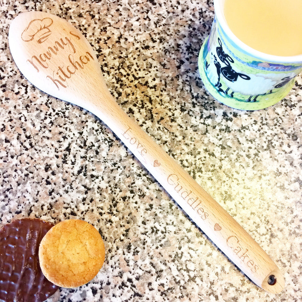 Personalised Wooden Spoon / Nanny's Kitchen /Love Cuddles Cake / Christmas / Birthday / Gift