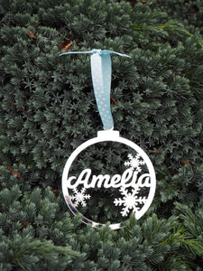 Mirror Acrylic Personalised Snowflake Christmas Bauble