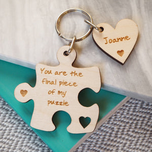 Personalised Puzzle Piece Keyring wedding anniversary birthday gift mother's day valentine's day