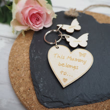 Load image into Gallery viewer, Personalised 'This Mummy belongs to....' Keyring Gift Present