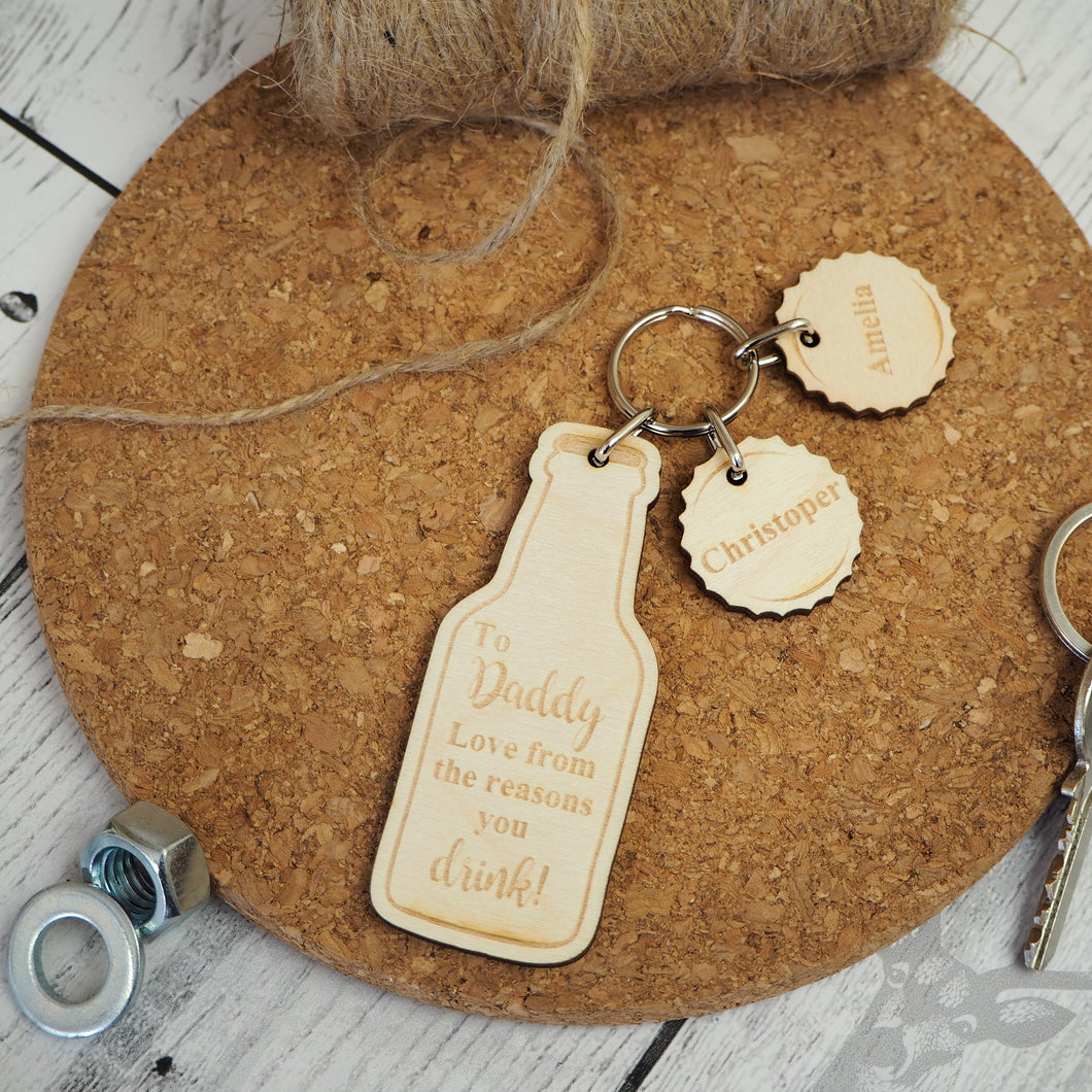 Personalised Beer Bottle Keyring