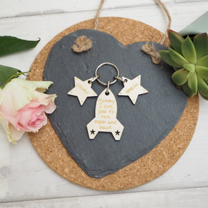 Personalised To The Moon Keyring Present Gift Mother's Day Valentine's
