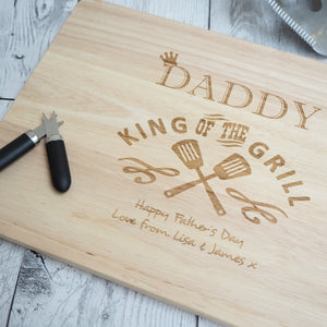 Personalised Chopping Board King Of The Grill Father's Day Birthday Valentine's Day Present Gift