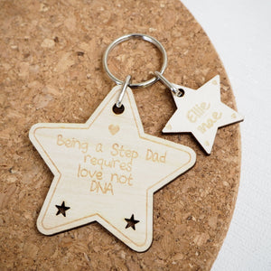 Personalised Father's Day Keyring / Gift Idea / Wooden / Star / Step Dad / Daddy