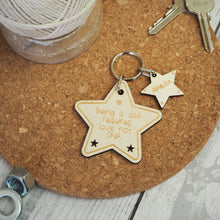 Load image into Gallery viewer, Personalised Father's Day Keyring / Gift Idea / Wooden / Star / Step Dad / Daddy
