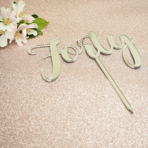 Birthday Cake Topper / Silver Gold Mirrored Acrylic / Any Name or Number