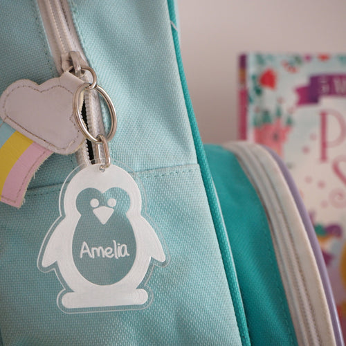 Penguin Bag Tag / Personalised Keyring & Luggage Tag