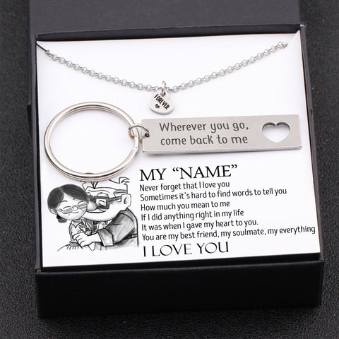 Keychain and necklace gift set for husband with name customization