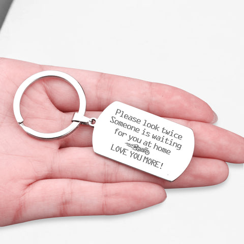 dog tag engraved keychain for boyfriend, husband