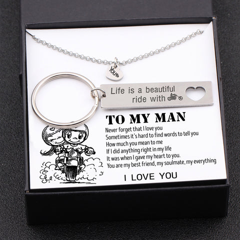 keychain and necklace gift set for boyfriend, husband with love message in a gift box