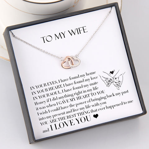 interlocked heart necklace with love message for wife