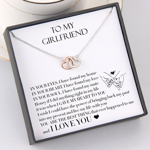 interlocked heart necklace with love message for girlfriend