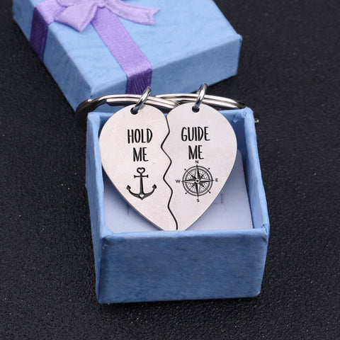 heart puzzle couple keychain