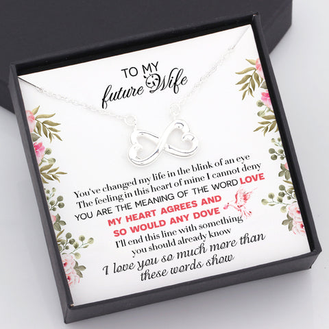 infinity necklace in a gift box with love message for future wife