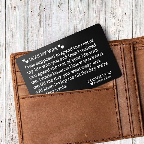 Engraved wallet card insert in a wallet for wife