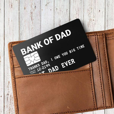 Engraved wallet card insert in a wallet for dad