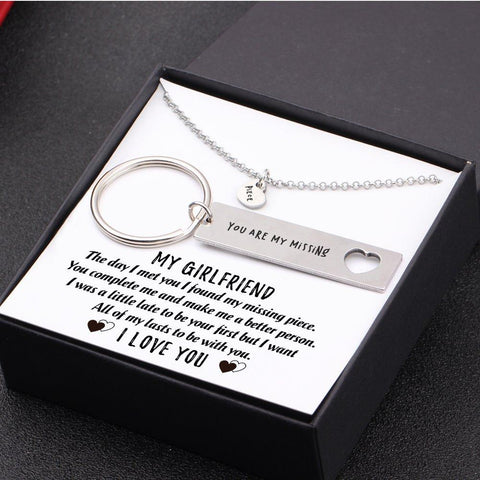 keychain and necklace gift set for girlfriend with love message in a gift box