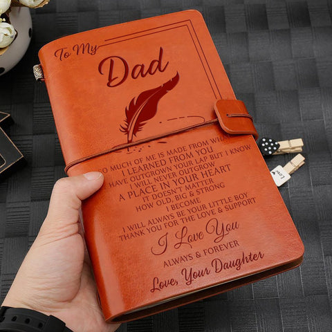engraved leather notebook for dad