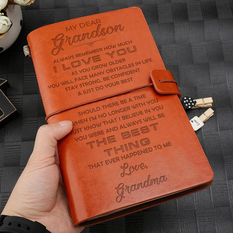 engraved leather notebook for grandson