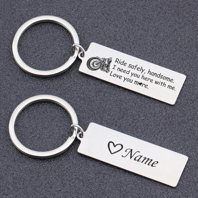 ride safe keychain for husband, boyfriend with name personalization