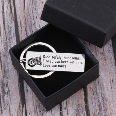 ride safe keychain for husband, boyfriend in a gift box