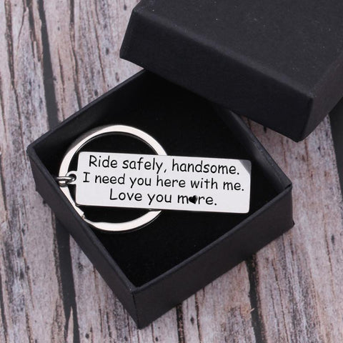 engraved ride safe keychain for husband, boyfriend in a gift box