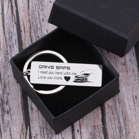 drive safe engraved keychain for loved one in a gift box