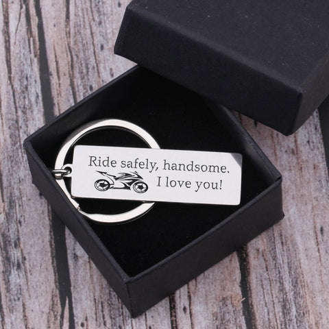 ride safe engraved keychain for who loves sport bikes in a gift box