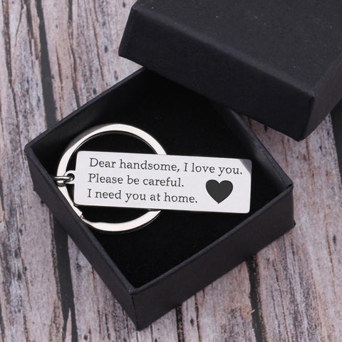 drive safe engraved keychain for husband, boyfriend in a gift box