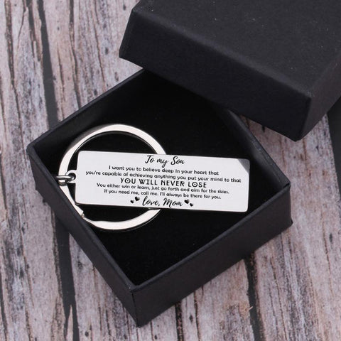 engraved keychain for son from mom in a gift box