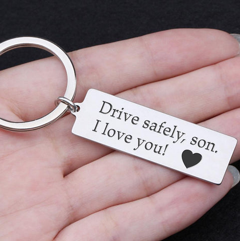 drive safe keychain with engraved message for son