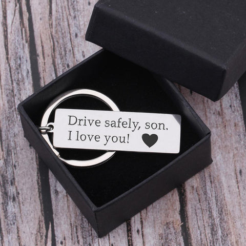 drive safe keychain with engraved message for son in a gift box