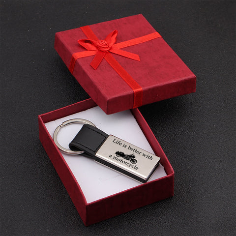 engraved keychain for who loves motorcycles in a gift box