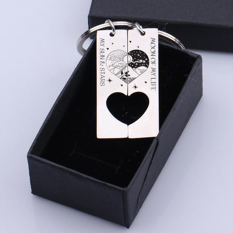 heart coordinating keychains for couples in a gift box